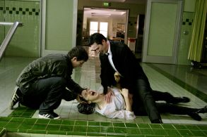 """(L-r) SHIA LaBEOUF, KEANU REEVES and RACHEL WEISZ in Warner Bros. Pictures' supernatural thriller """"Constantine."""" PHOTOGRAPHS TO BE USED SOLELY FOR ADVERTISING, PROMOTION, PUBLICITY OR REVIEWS OF THIS SPECIFIC MOTION PICTURE AND TO REMAIN THE PROPERTY OF THE STUDIO. NOT FOR SALE OR REDISTRIBUTION."""
